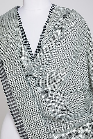 Black & White Cotton Dupatta by Silk Waves