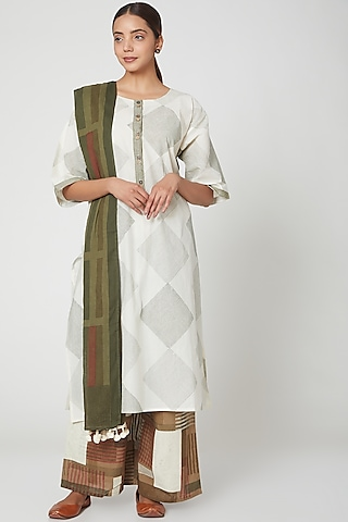 White & Brown Printed Cotton Kurta Set by Silk Waves