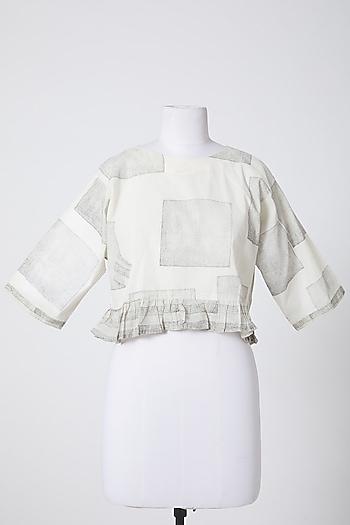 White Printed Crop Top by Silk Waves
