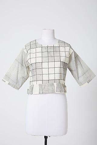 White & Grey Printed Crop Top by Silk Waves