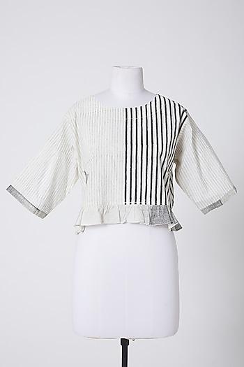 White & Black Printed Crop Top by Silk Waves