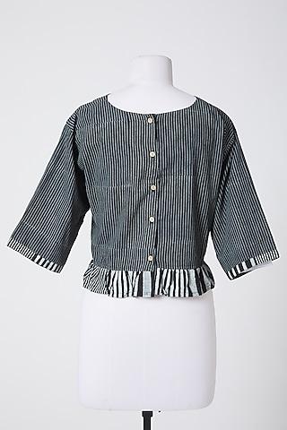 Grey Printed Crop Top by Silk Waves