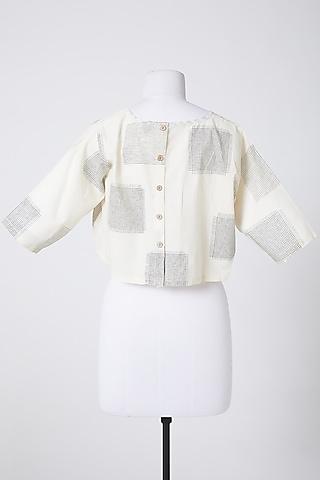 White Cotton Crop Top by Silk Waves