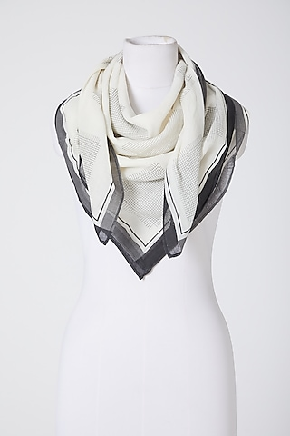 White Printed Scarf by Silk Waves