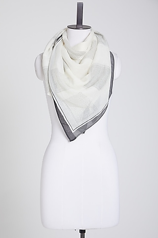 White Cotton Scarf by Silk Waves