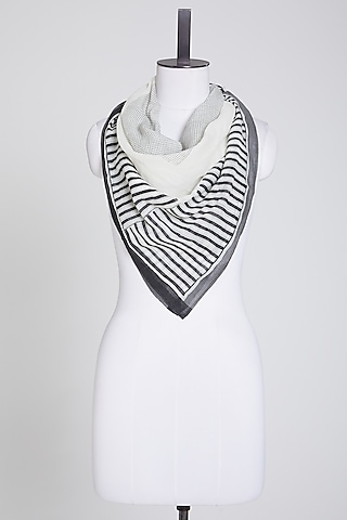 White Scarf In Cotton by Silk Waves