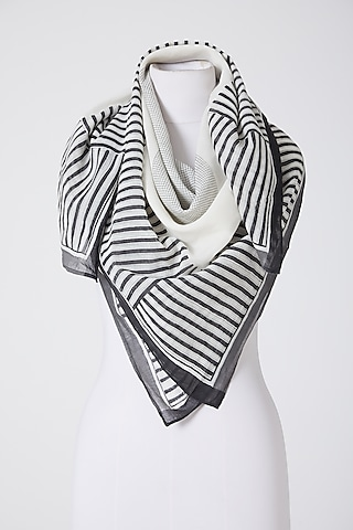 White & Black Printed Scarf by Silk Waves