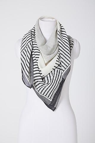 White & Black Cotton Scarf by Silk Waves