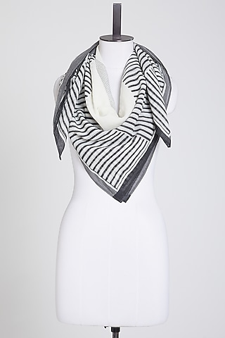 Black & White Cotton Scarf by Silk Waves