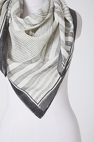 White & Grey Printed Scarf by Silk Waves