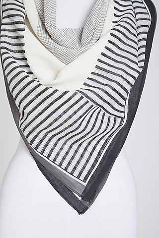 White & Black Scarf In Cotton by Silk Waves