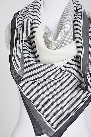 Black & White Scarf In Cotton by Silk Waves