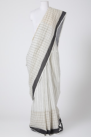 Ivory & Black Printed Saree by Silk Waves