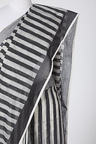 White & Black Printed Cotton Saree by Silk Waves