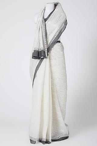 White Printed Saree by Silk Waves