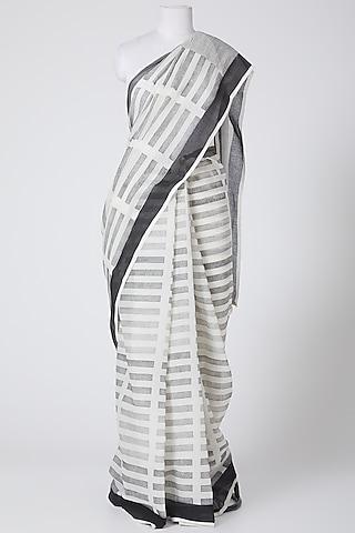White Cotton Saree by Silk Waves