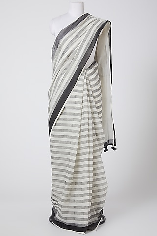 White & Grey Printed Saree by Silk Waves