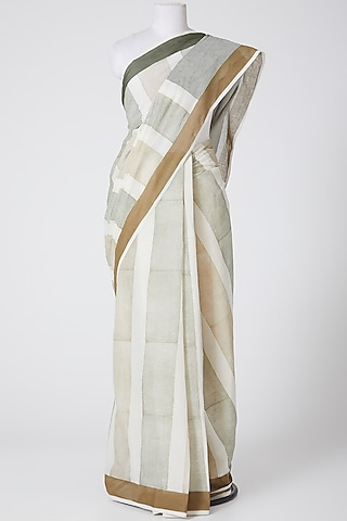 White & Beige Printed Saree by Silk Waves