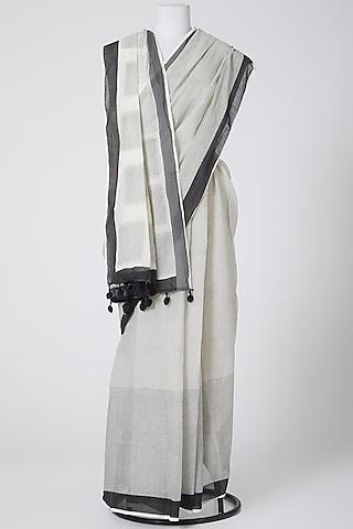 White Printed Cotton Saree by Silk Waves