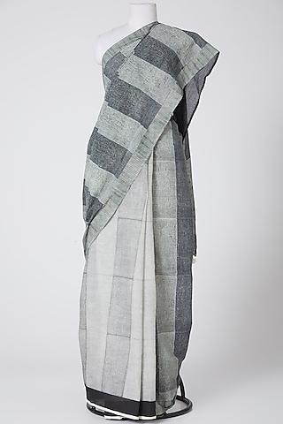 Grey & Black Printed Saree by Silk Waves