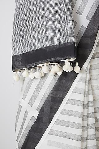 White Digitally Printed Saree by Silk Waves