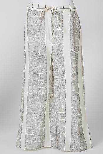 White & Grey Printed Palazzo Pants by Silk Waves