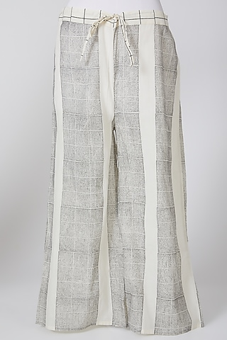 White & Grey Printed Palazzo Pants by Silk Waves