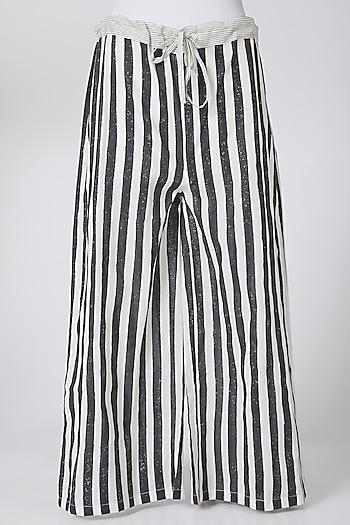White & Black Printed Palazzo Pants by Silk Waves