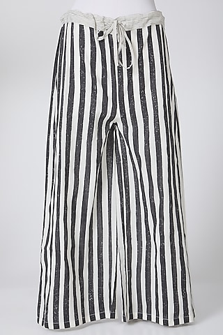 White & Black Printed Palazzo Pants by Silk Waves