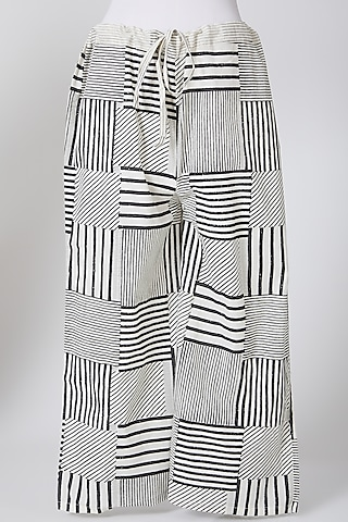 White & Black Cotton Palazzo Pants by Silk Waves