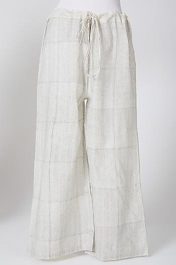 White Printed Palazzo Pants by Silk Waves