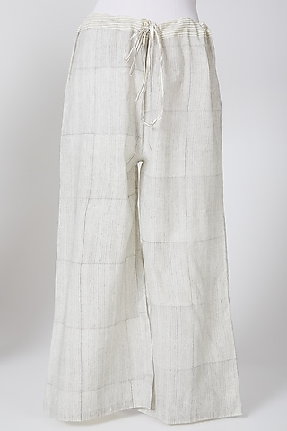 White Printed Palazzo Pants by Silk Waves