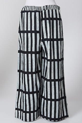 White & Black Cotton Printed Palazzo Pants by Silk Waves
