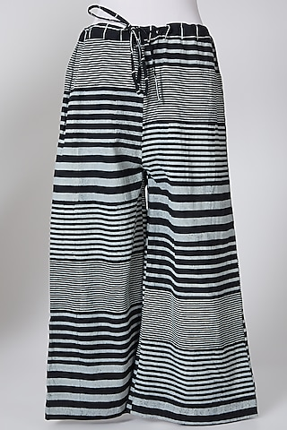 White & Black Digitally Printed Palazzo Pants by Silk Waves