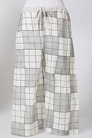 White & Grey Cotton Palazzo Pants by Silk Waves