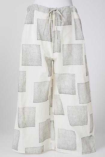 White & Grey Digitally Printed Palazzo Pants by Silk Waves