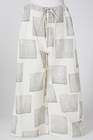White & Grey Digitally Printed Palazzo Pants by Silk Waves