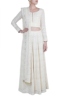 Ivory Lucknowi Lehenga Set by Sole Affair