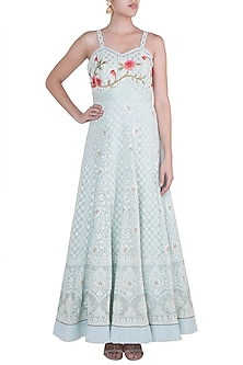 Powder Blue Embroidered Bustier Gown by Sole Affair