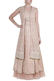 Nude Lucknowi Jacket Lehenga Set by Sole Affair