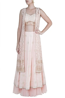 Pink Lucknowi Jacket Lehenga Set by Sole Affair