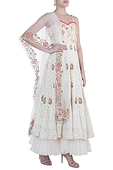 Ivory Anarkali Bustier Gown With Dupatta by Sole Affair