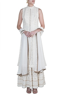 Ivory Anarkali Jacket Gown With Dupatta by Sole Affair