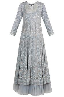 Grey Lucknowi Anarkali Gown With Dupatta by Sole Affair