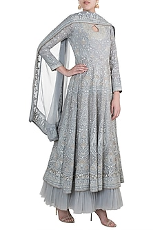 Grey Lucknowi Anarkali Gown With Dupatta by Sole Affair