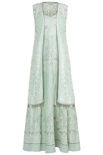 Sea Green Lucknowi Gown With Jacket by Sole Affair