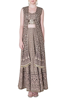 Brown embroidered lehenga skirt with bustier and jacket by SOLE AFFAIR