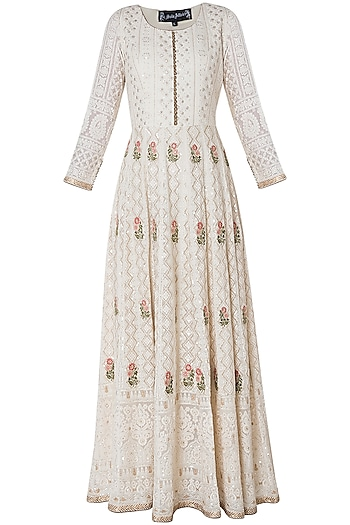 Ivory embroidered gown with dupatta by SOLE AFFAIR