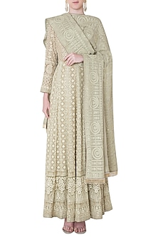 Olive embroidered gown with dupatta by SOLE AFFAIR