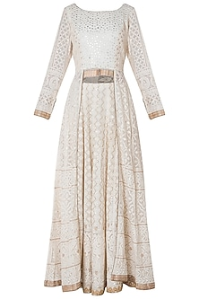 Ivory embroidered lehenga set by SOLE AFFAIR
